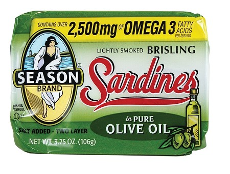Season Two Layer Salt Added Lightly Smoked Brisling Sardines in Pure Olive Oil, 3.75 oz. - Scotland (Case of 12)