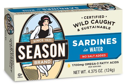 Season No Salt Added Club Sardines In Water, 4.375 oz. - Morocco (Case of 12)
