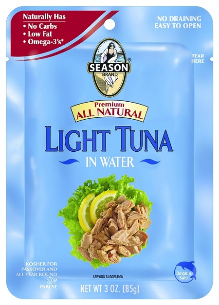 Season Premium All Natural Lite Tuna in Water, 3 oz. Pouch (Case of 12)