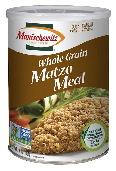 Manischewitz Whole Grain Matzo Meal, 16 oz. Canister (Case of 12)
