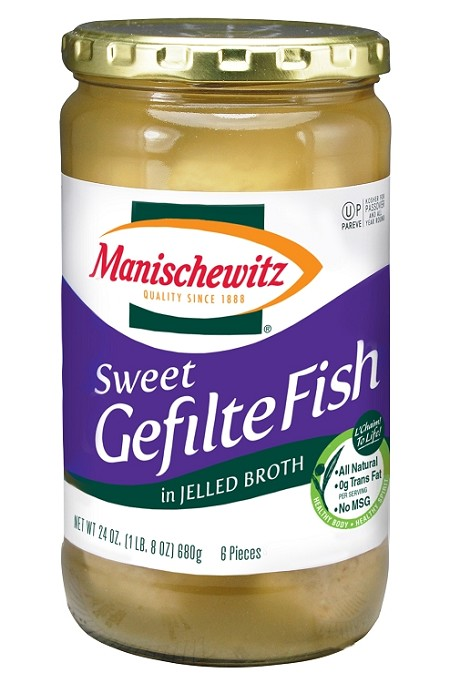 Manischewitz Sweet Gefilte Fish in Jelled Broth, 24 oz. (Case of 12)
