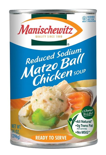 Manischewitz Reduced Sodium All Natural Matzo Ball Chicken Soup, 14 oz. (Case of 12)