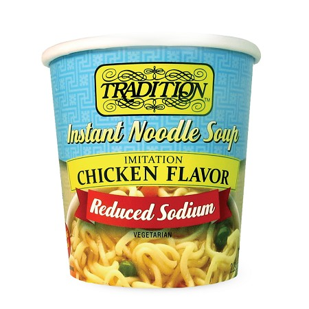Tradition Reduced Sodium Chicken Flavor Instant Noodle Soup - Cup, 2.29 oz. (Case of 12)