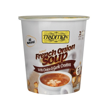 Tradition All Natural Instant French Onion Soup with Onion & Garlic Croutons - Cup, 1.23 oz. (Case of 12)