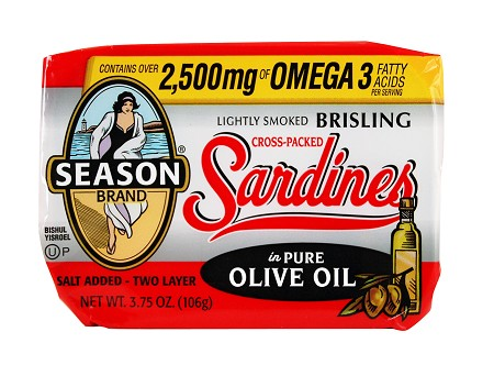 Season Two Layer Salt Added Cross-Packed Lightly Smoked Brisling Sardines in Pure Olive Oil, 3.75 oz. - Scotland (Case of 12)