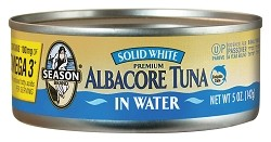 Season Premium Solid White Albacore Tuna in Water, 5 oz. Can (Case of 24)