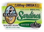 Season One Layer No Salt Added Lightly Smoked Brisling Sardines In Water, 3.75 oz. - Scotland (Case of 12)