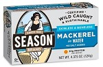 Season No Salt Added Skinless & Boneless Fillets of Mackerel in Water, 4.375 oz. - Morocco (Case of 12)
