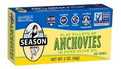 Season Salt Added Flat Fillets of Anchovies in Pure Olive Oil, 2 oz. (Case of 12)