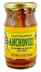 Season Salt Added Anchovy Fillets in Pure Olive Oil, 4.2 oz. Glass Jar (Case of 12)