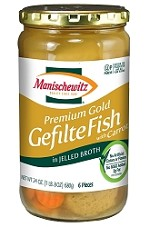 Manischewitz Premium Gold Gefilte Fish with Carrots in Jelled Broth, 24 oz. (Case of 12)